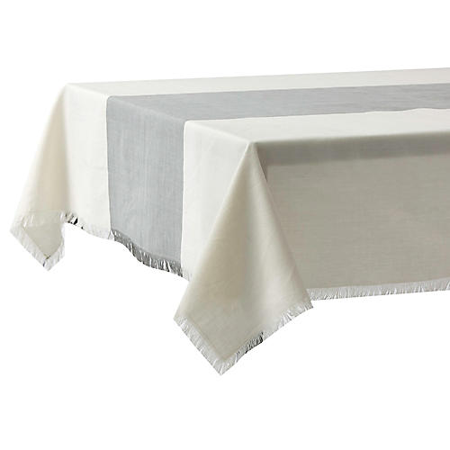 Chambray Tablecloth, Mist/Cream
