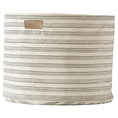 Stripe Drum Storage, Gray/Beige