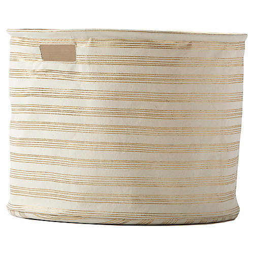 Stripe Drum Storage, Gold/Beige