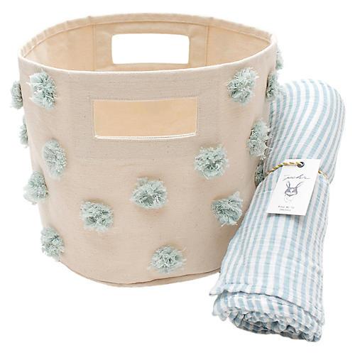 Pom Pom Baby Gift Set, Blue