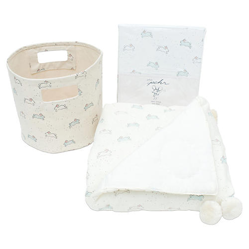 Tiny Bunny Cotton Baby Gift Set, Gray/Multi