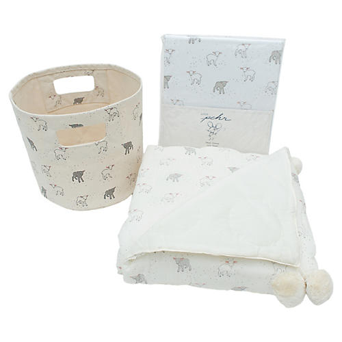 Little Lamb Cotton Baby Gift Set, Gray/Multi