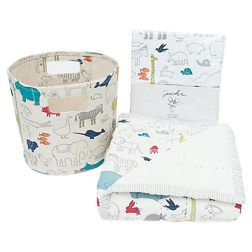 Noah's Ark Cotton Baby Gift Set, Beige/Multi