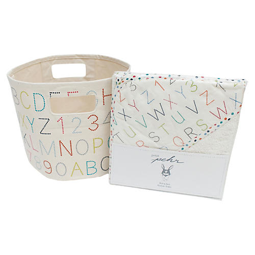 Alphabet Bath Cotton Baby Gift Set, Beige/Multi