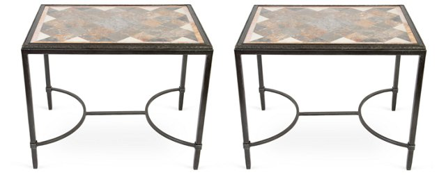 Brass & Marble Cocktail Tables, Pair