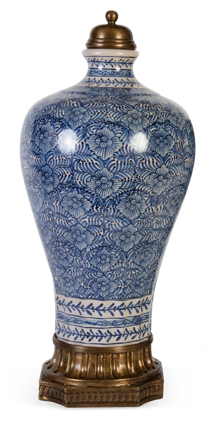 Emperor's Blue & White Vase w/ Lid