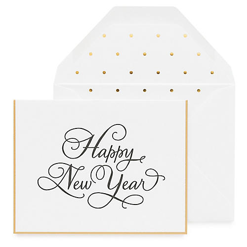 S/6 Happy New Year Greeting Cards