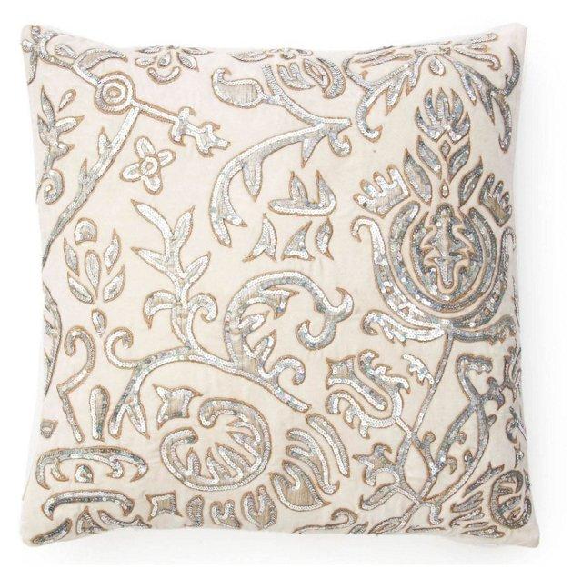 Patchwork 20x20 Silk Pillow, Silver