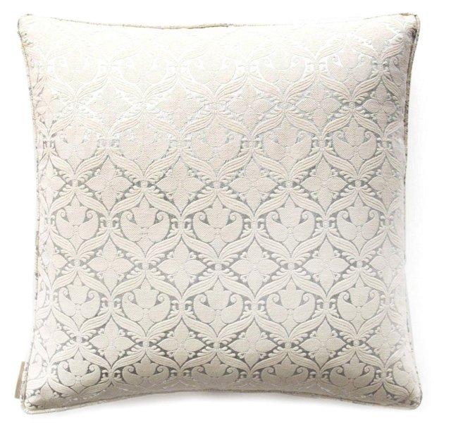 Tulip 20x20 Silk Pillow, Ivory/Silver
