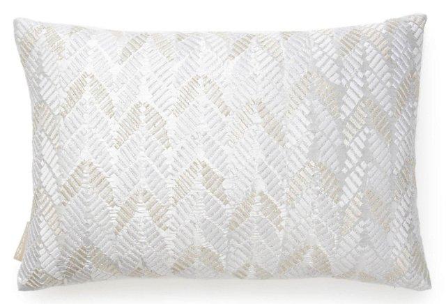 Leaves 13x20 Silk Pillow, White