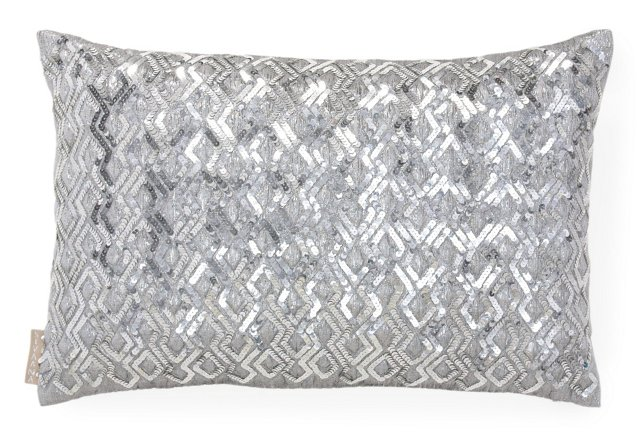 Sequin 13x20 Silk Pillow, Gray/Silver