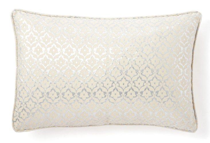 Mughal 13x20 Pillow, White/Silver