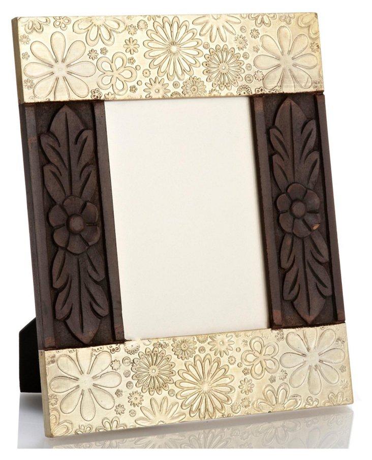 Metal & Wooden Floral Frame, 5x7, Cream