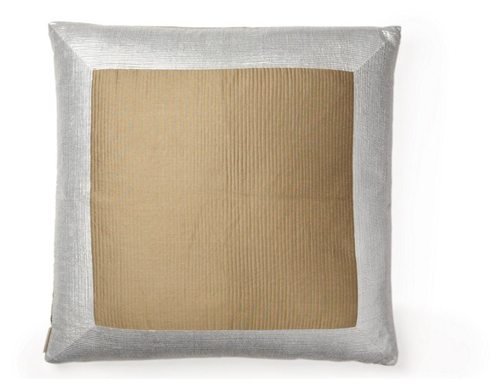 Pinstripe 26x26 Silk Pillow, Gold