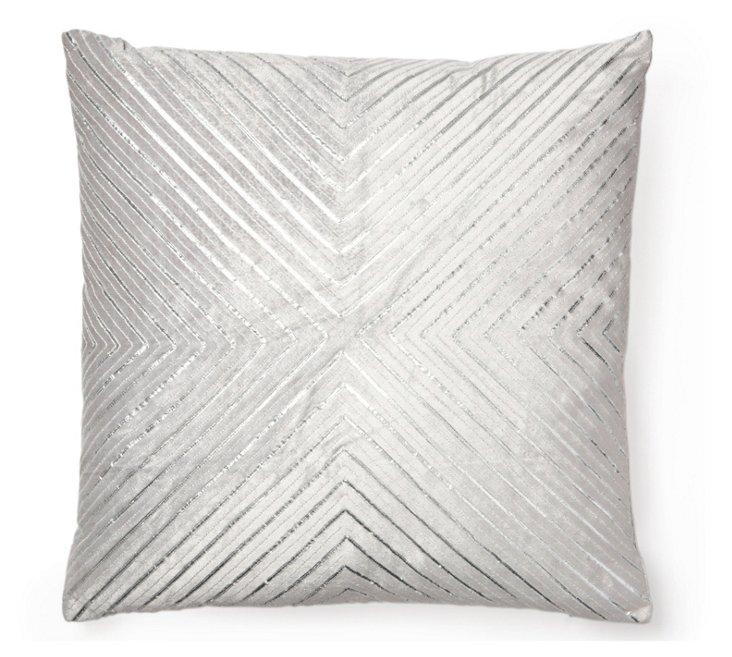 Gota 20x20 Velvet Pillow, Silver