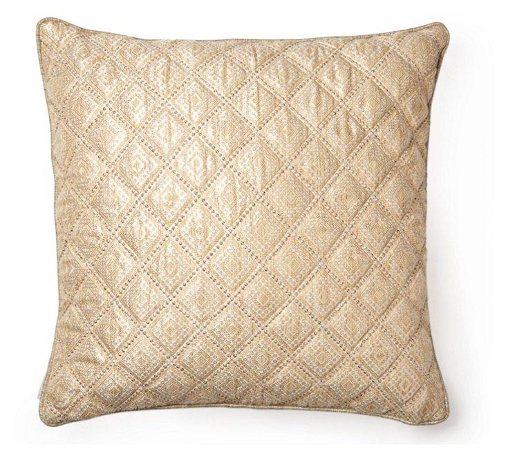 Diamond 18x18 Silk Pillow, Gold