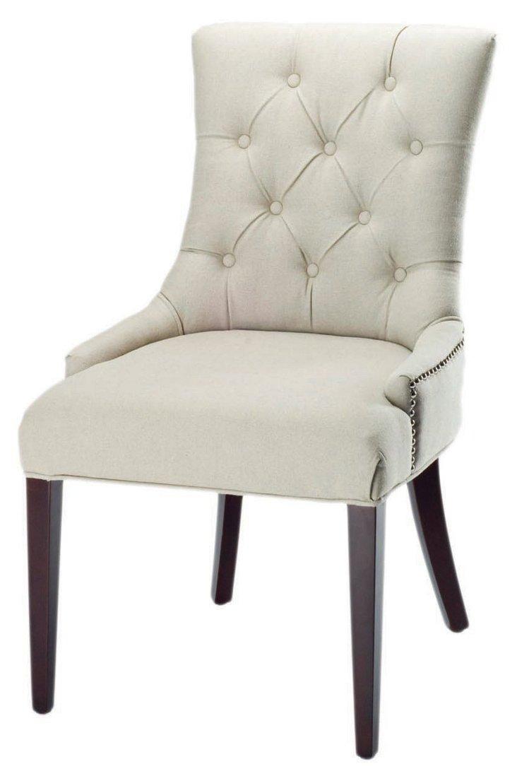 Amanda Tufted Linen Side Chair, Cream