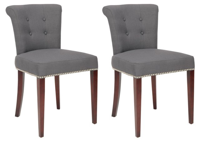 Charcoal Juna Ring Chairs, Pair