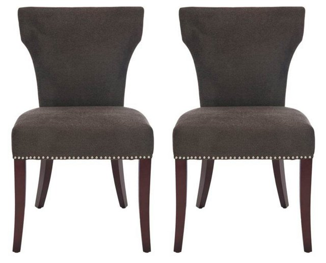 Chocolate Milo Side Chairs, Pair