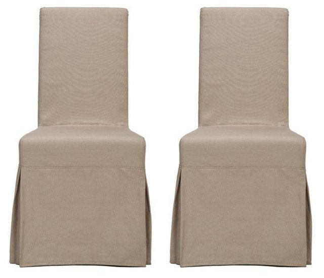 Ecru Adrianna Slipcover Chairs, Pair