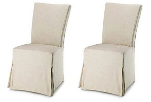 Beige Madeleine Slipcover Chairs, Pair