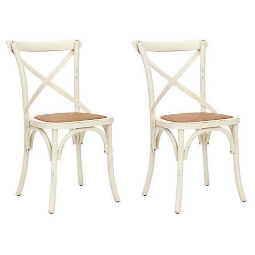 S/2 Bonnie Side Chairs, White
