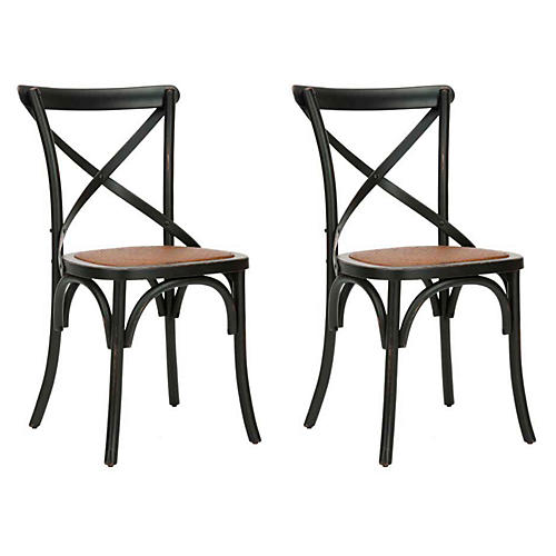 Black Bonnie Dining Chairs, Pair