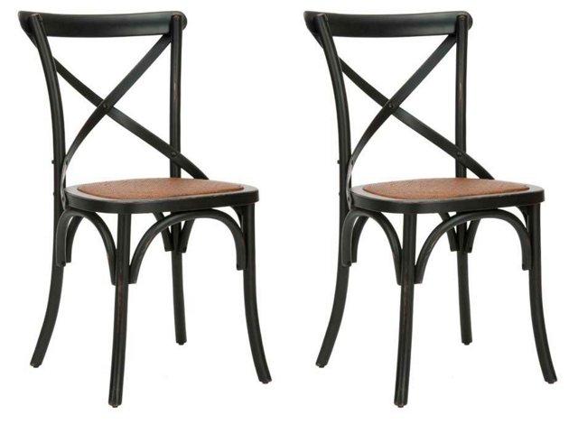 Black Bonnie Dining Chairs, Pair