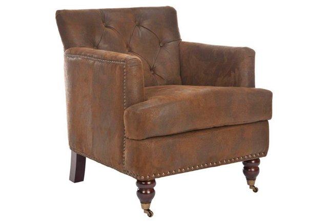 Margot Suede Club Chair, Saddle Brown
