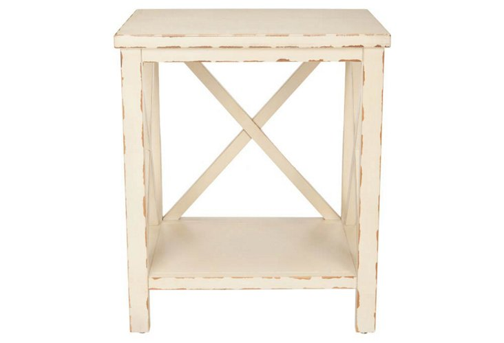 Lucas Cross-Back End Table, Ivory
