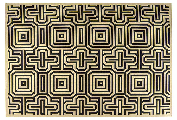 Bates Outdoor Rug, Sand/Black