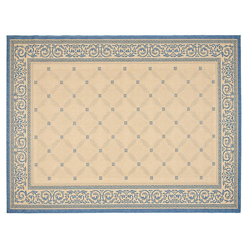 Avery Outdoor Rug, Natural/Blue