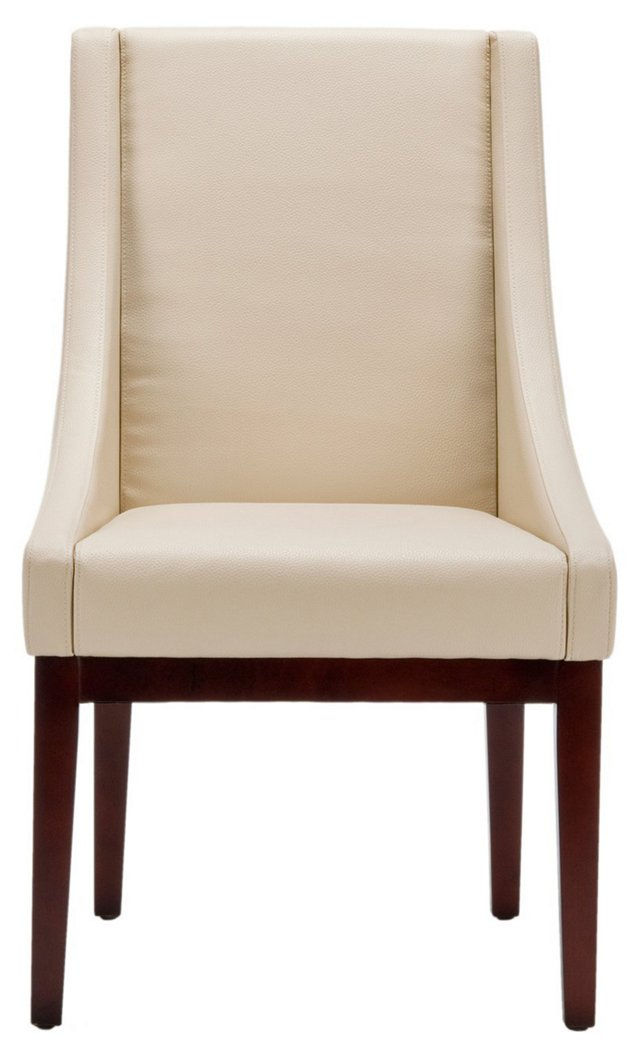 Blake Leather Sloping-Arm Chair, Cream