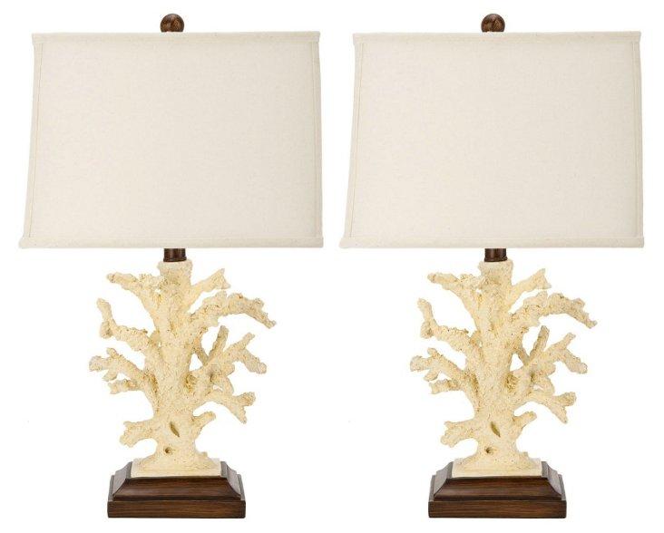 Reef Table Lamp Set, White
