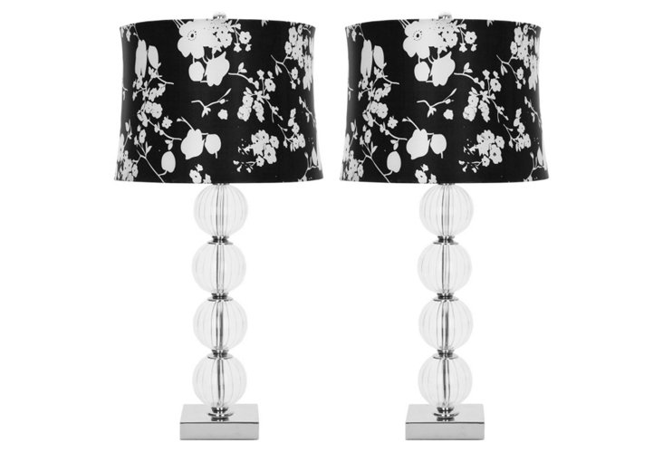 Glass-Ball Table Lamp Set, Floral