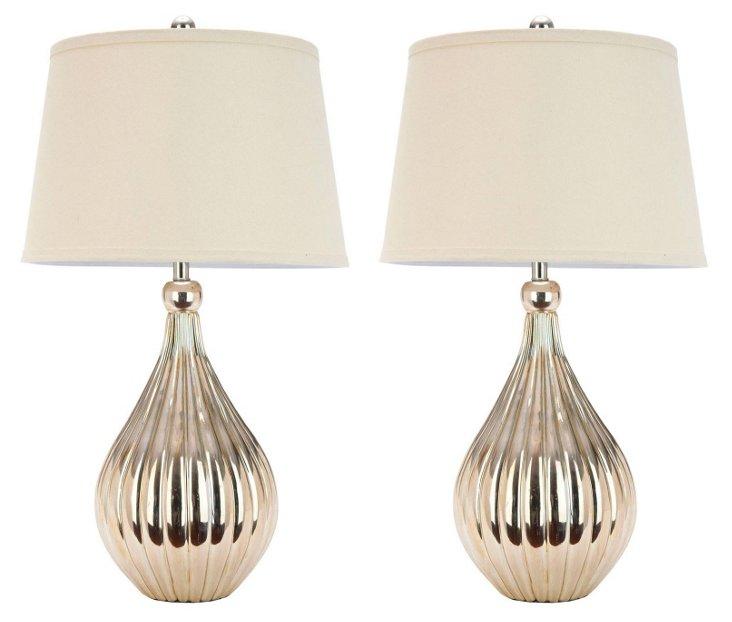 Bianca Table Lamp Set, Champagne