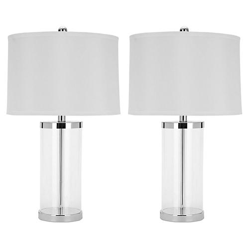 S/2 Glass Table Lamp, Clear