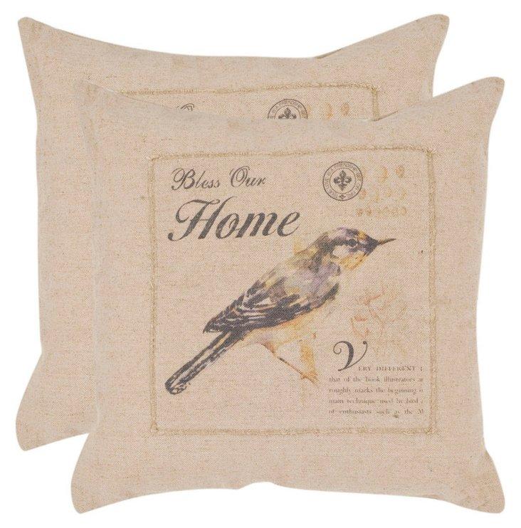 S/2 Jay 22x22 Pillows, Natural
