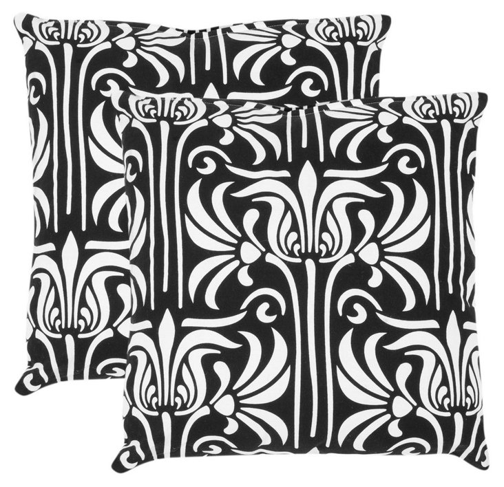 S/2 Alfie Cotton Pillows, Black