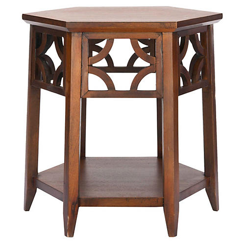 Silas Hexagonal Side Table, Dark Mahogany