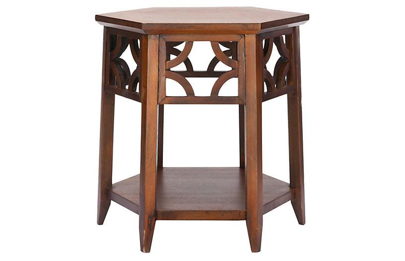 Silas Hexagonal Side Table, Dark Mahogany