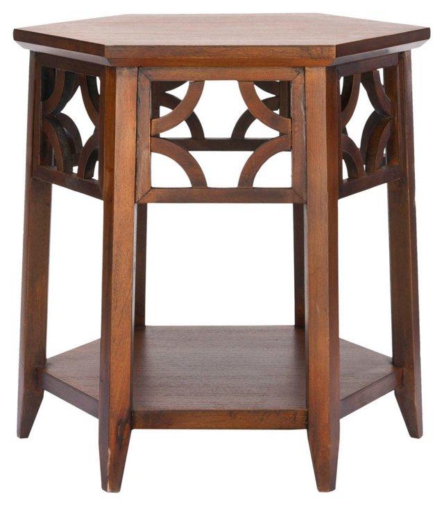 Silas Hexagon End Table, Dark Mahogany