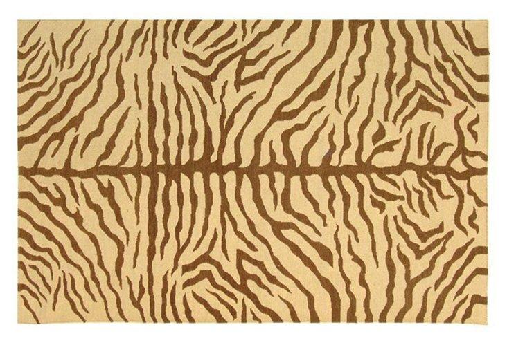 4'x6' Zinnia Soumak Rug, Cream/Brown