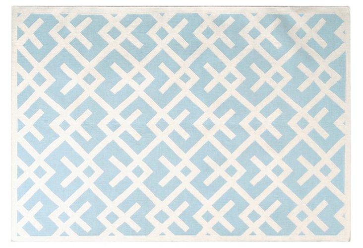 "2'6""x10' Diana Dhurrie, Blue/Ivory"