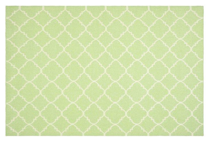 Delilah Dhurrie, Light Green/Ivory