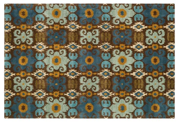 Hazlet Ikat Rug, Brown/Blue