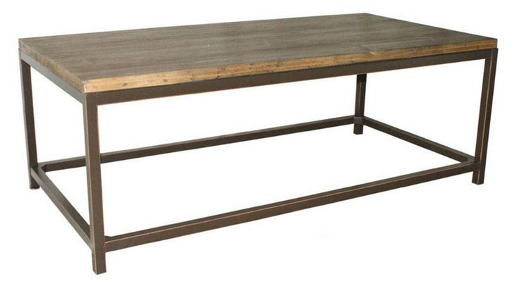 Claire Industrial Coffee Table, Natural