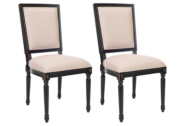 Beige/Black Donnelly Side Chairs, Pair