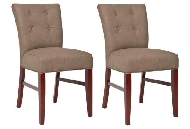Cocoa Donovan Side Chairs, Pair