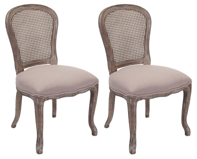 Greige Lila Dining Chairs, Pair